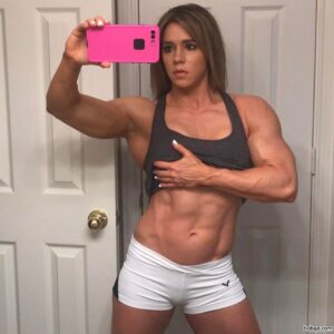 perfect woman with muscle body and muscle bottom photo from insta