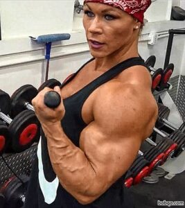 hot female bodybuilder with muscular body and muscle arms photo from linkedin