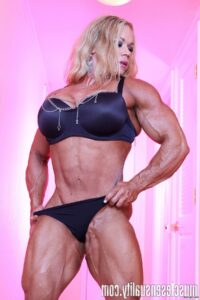 cute woman with fitness body and muscle arms repost from g+