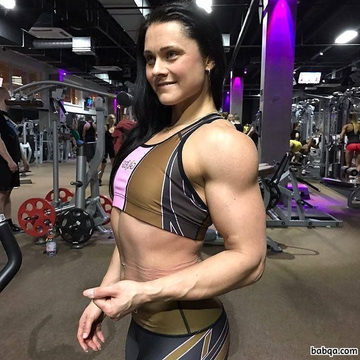 hot girl with fitness body and muscle biceps image from flickr