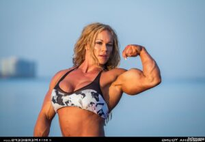 spicy babe with fitness body and muscle biceps repost from flickr