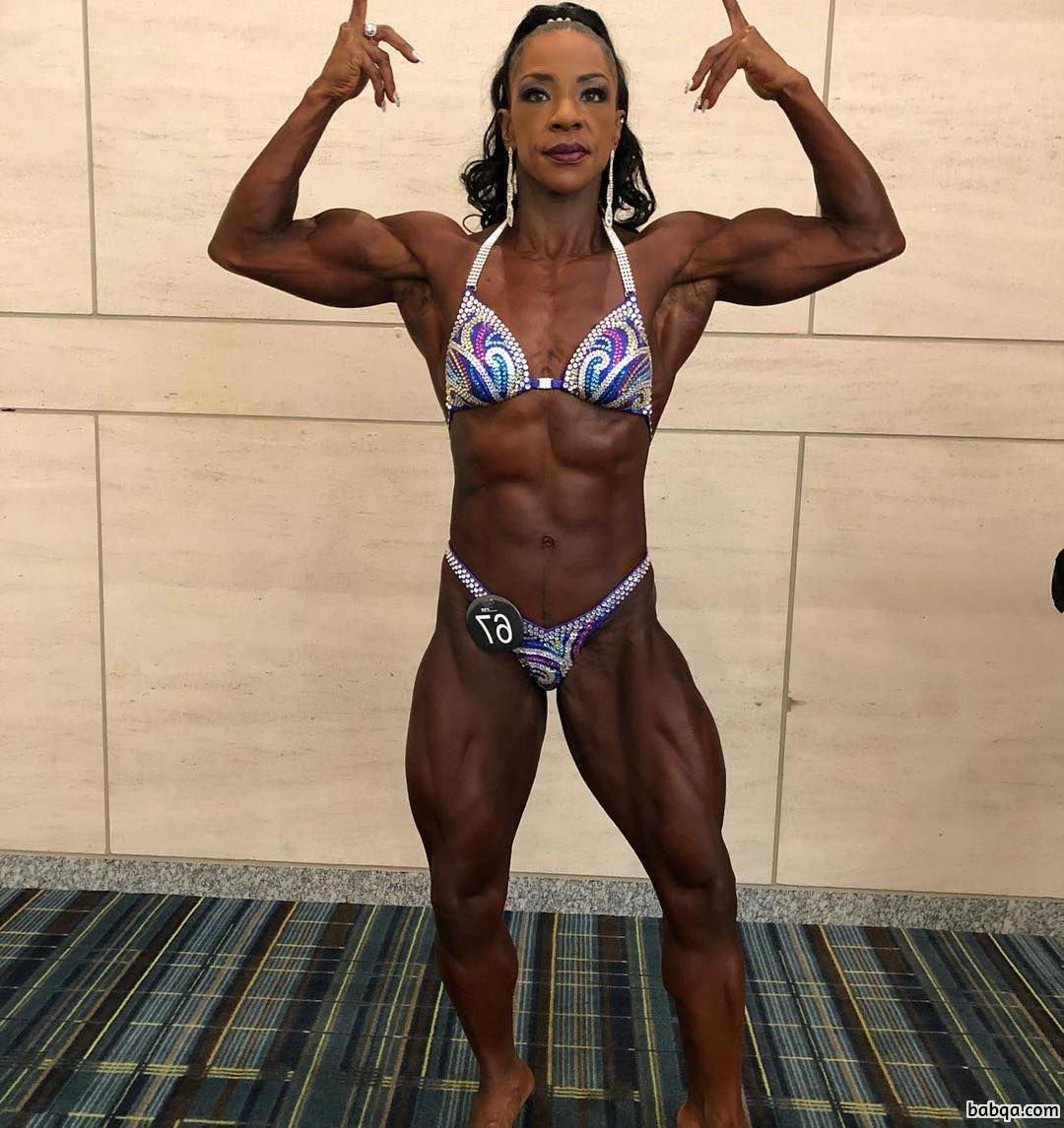 cute woman with muscular body and toned legs repost from