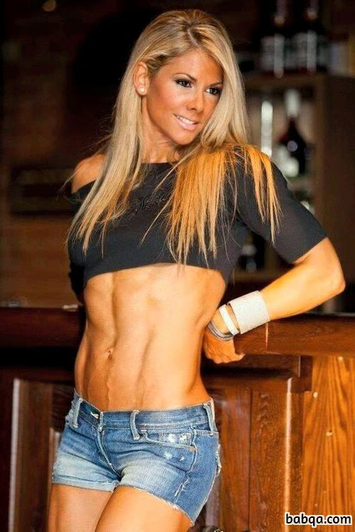awesome woman with muscular body and muscle bottom image from g+