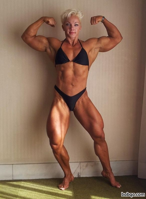sexy female bodybuilder with muscle body and muscle legs image from facebook
