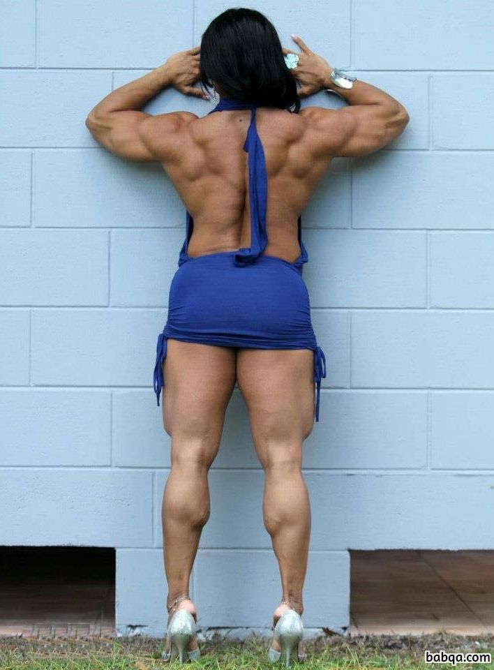 cute female with muscular body and muscle biceps picture from reddit
