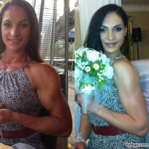 cute chick with fitness body and muscle biceps photo from reddit