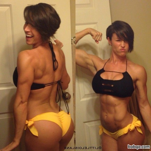 hot female bodybuilder with strong body and muscle arms image from facebook