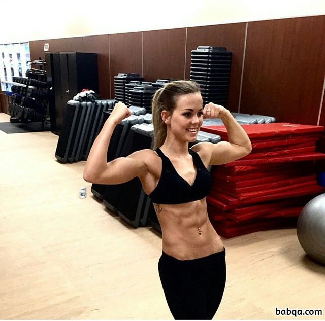 hot babe with strong body and muscle arms repost from facebook