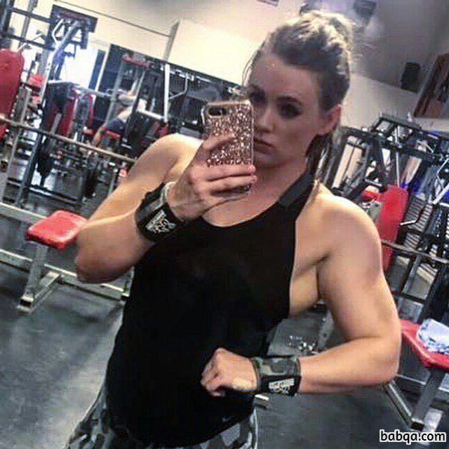 sexy chick with fitness body and muscle arms image from facebook
