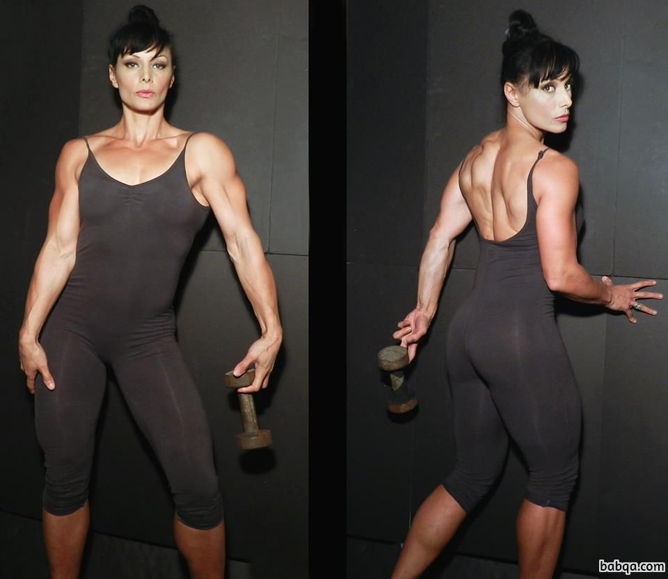 cute girl with fitness body and muscle arms picture from linkedin