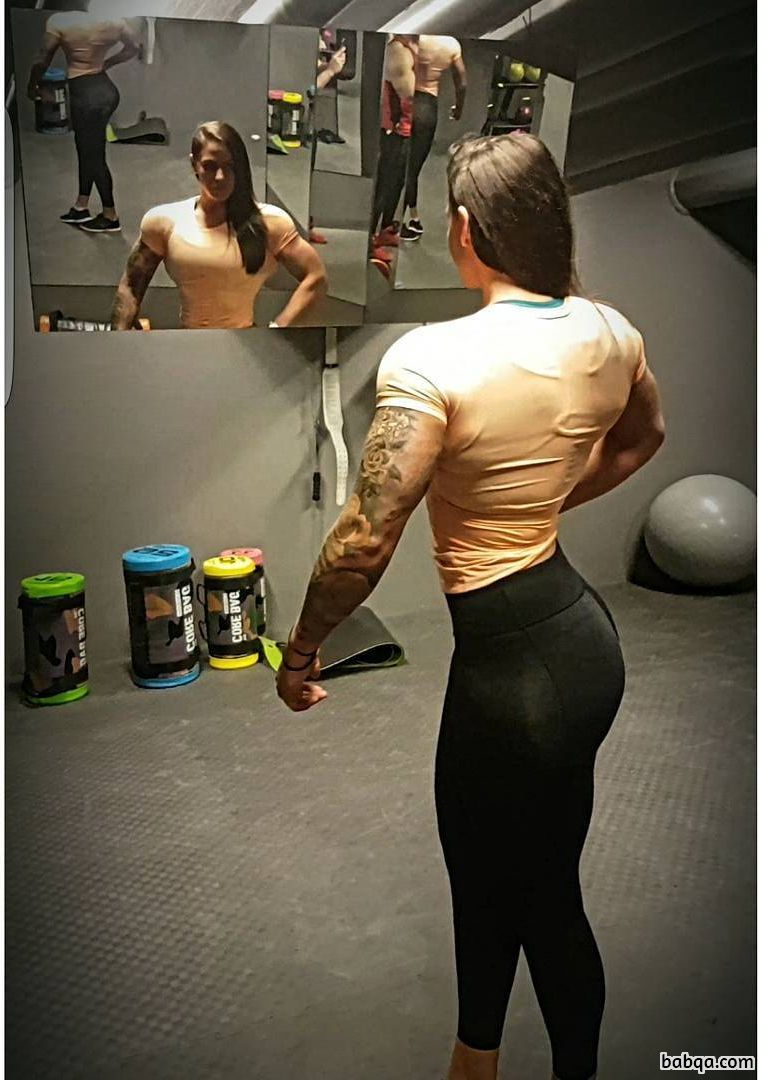 hottest chick with fitness body and muscle biceps photo from linkedin