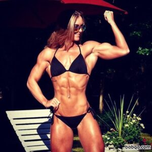beautiful female bodybuilder with strong body and muscle biceps post from insta