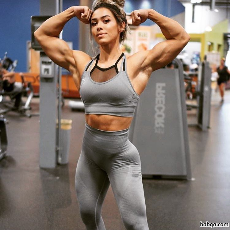 beautiful chick with muscular body and muscle arms repost from instagram