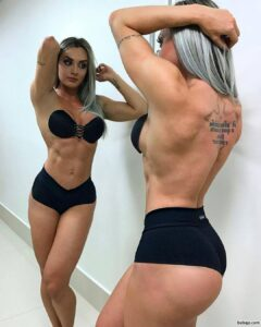 perfect female bodybuilder with muscular body and toned booty post from insta
