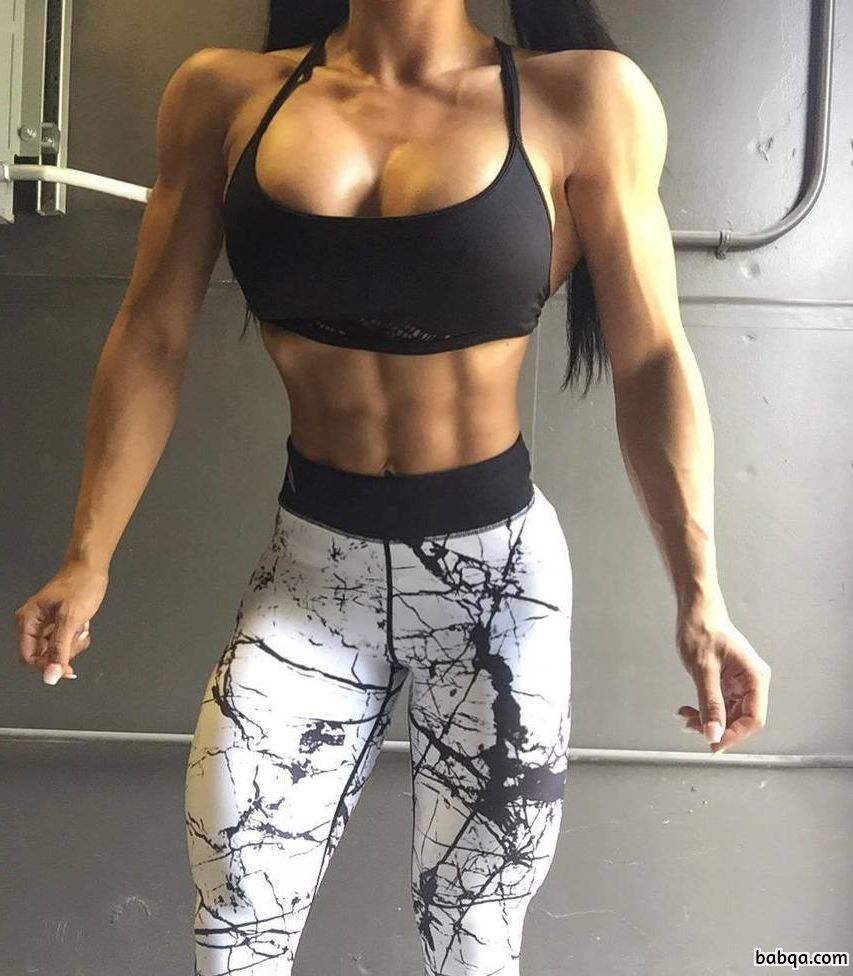 sexy female bodybuilder with muscular body and toned booty repost from flickr