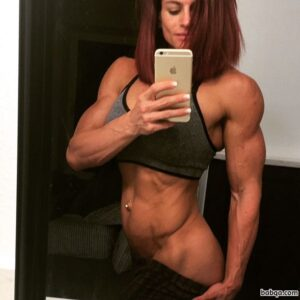 hot babe with fitness body and muscle arms photo from facebook