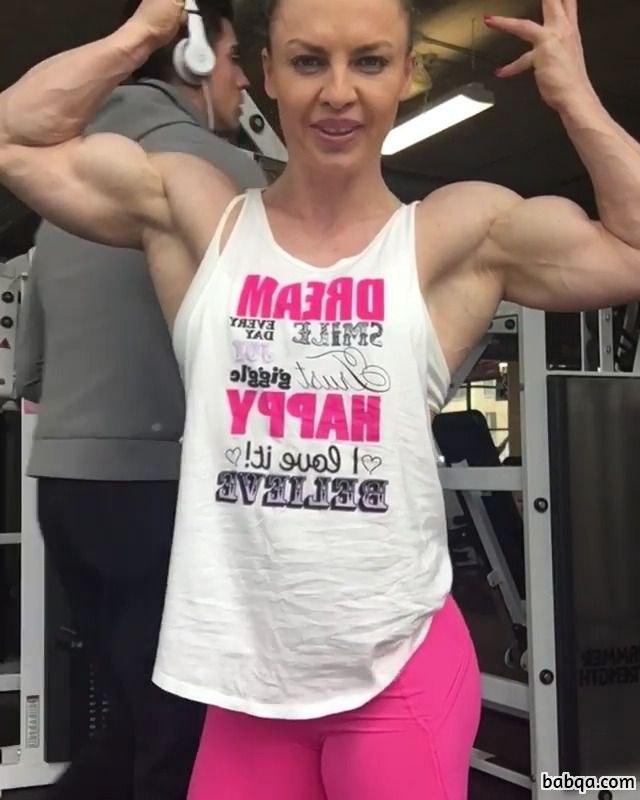 cute female with strong body and muscle arms repost from facebook