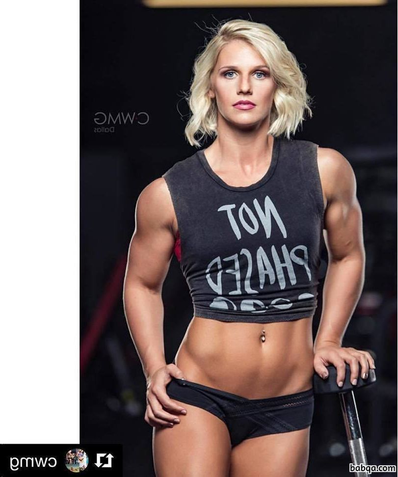 sexy girl with strong body and muscle arms repost from linkedin