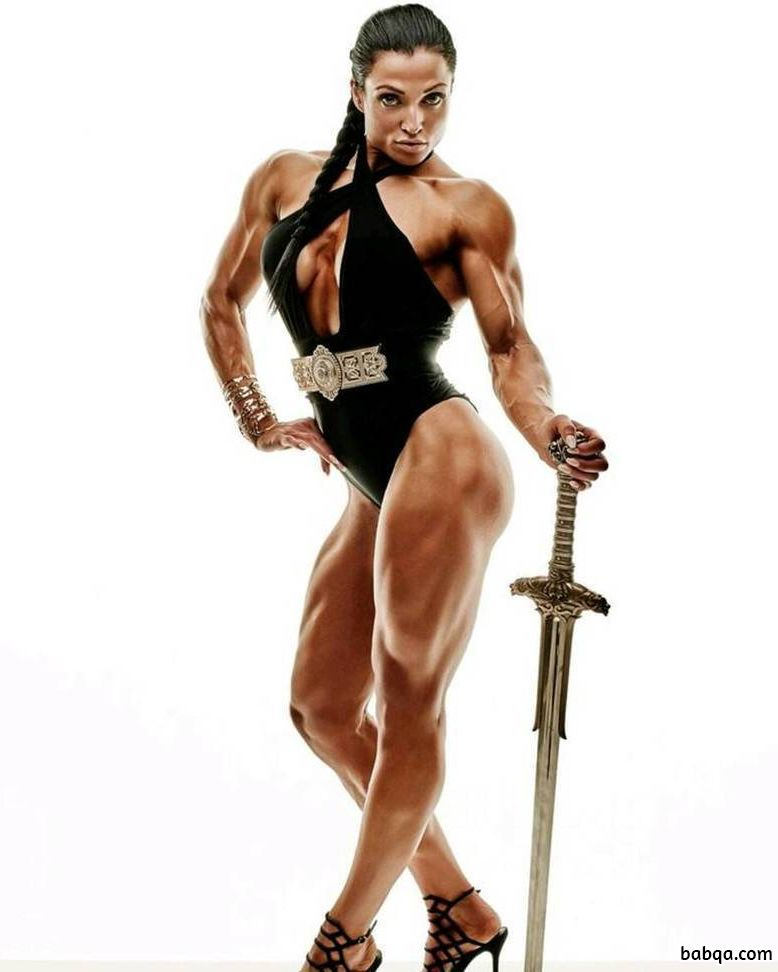 sexy lady with strong body and muscle biceps picture from linkedin