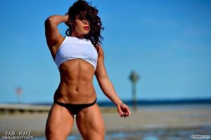 awesome lady with strong body and muscle arms repost from reddit