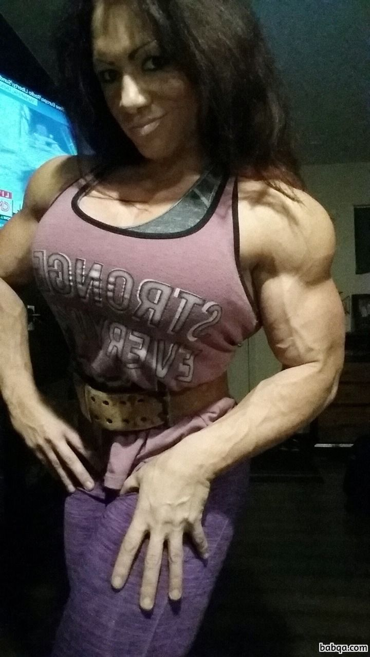 perfect chick with muscle body and toned legs repost from insta