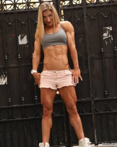 hot female bodybuilder with muscular body and toned biceps image from g+