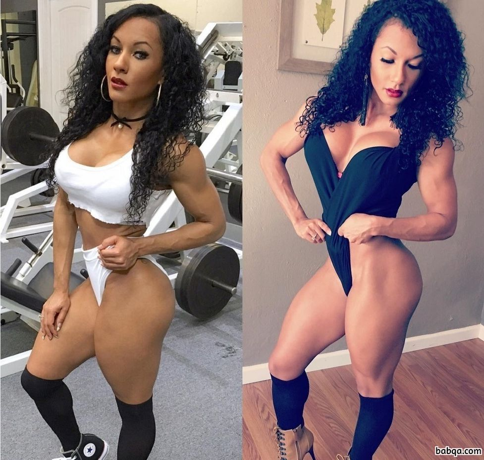 beautiful female bodybuilder with muscle body and muscle biceps repost from instagram