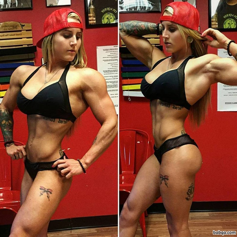 perfect chick with strong body and toned biceps repost from reddit