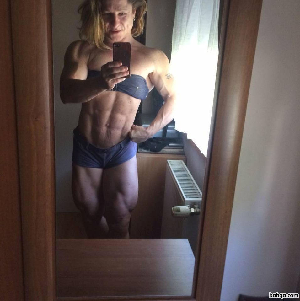 sexy girl with muscle body and muscle arms image from facebook