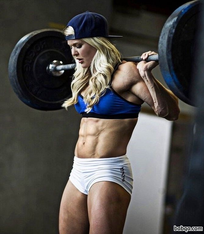 beautiful woman with fitness body and muscle arms picture from g+