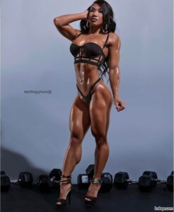 cute female bodybuilder with muscle body and muscle arms post from instagram