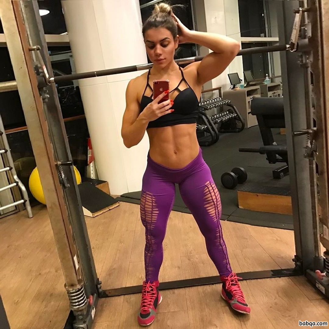 sexy lady with strong body and muscle biceps image from insta