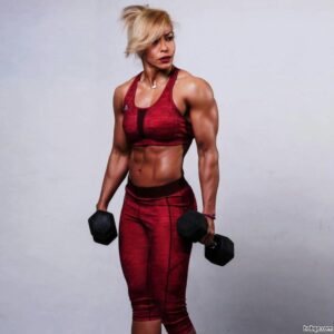 cute woman with strong body and muscle legs repost from facebook