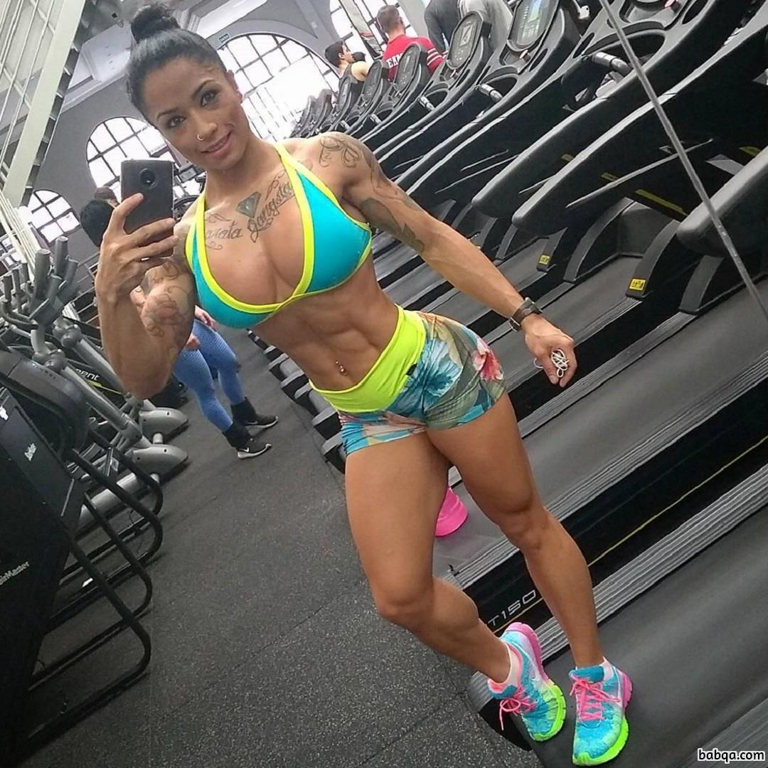 hottest babe with fitness body and muscle bottom repost from g+