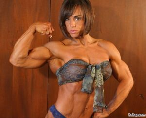 awesome chick with muscle body and muscle biceps photo from instagram