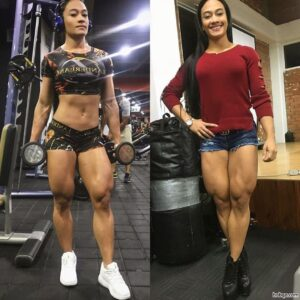 awesome babe with strong body and muscle biceps image from g+