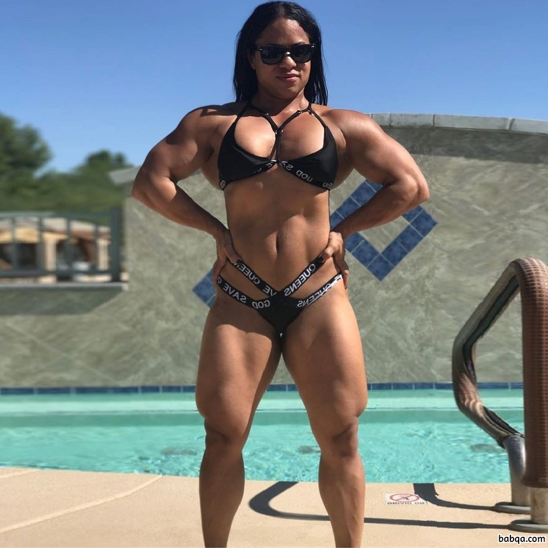 perfect female with fitness body and toned biceps pic from reddit