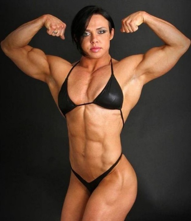 hot female bodybuilder with strong body and toned arms repost from reddit