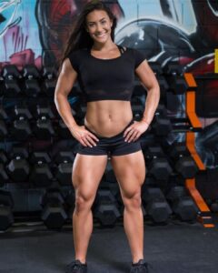 hot woman with muscle body and toned legs image from g+