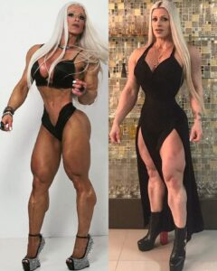 sexy lady with muscle body and muscle bottom photo from insta
