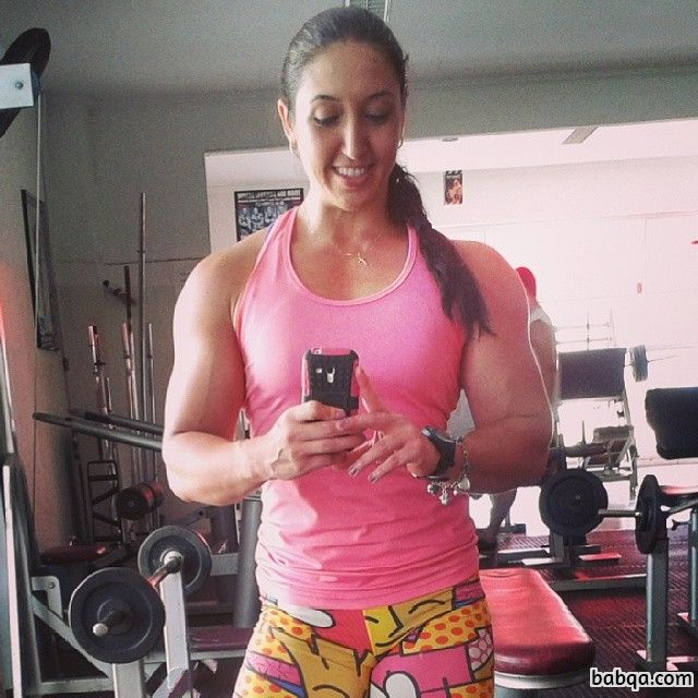 perfect chick with muscular body and toned arms post from facebook