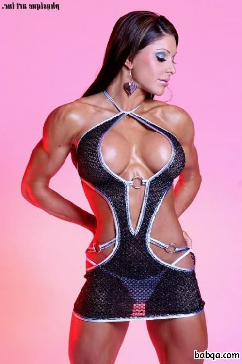 cute female with strong body and muscle biceps photo from facebook