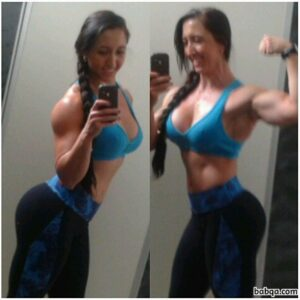 beautiful female bodybuilder with muscle body and muscle biceps picture from instagram