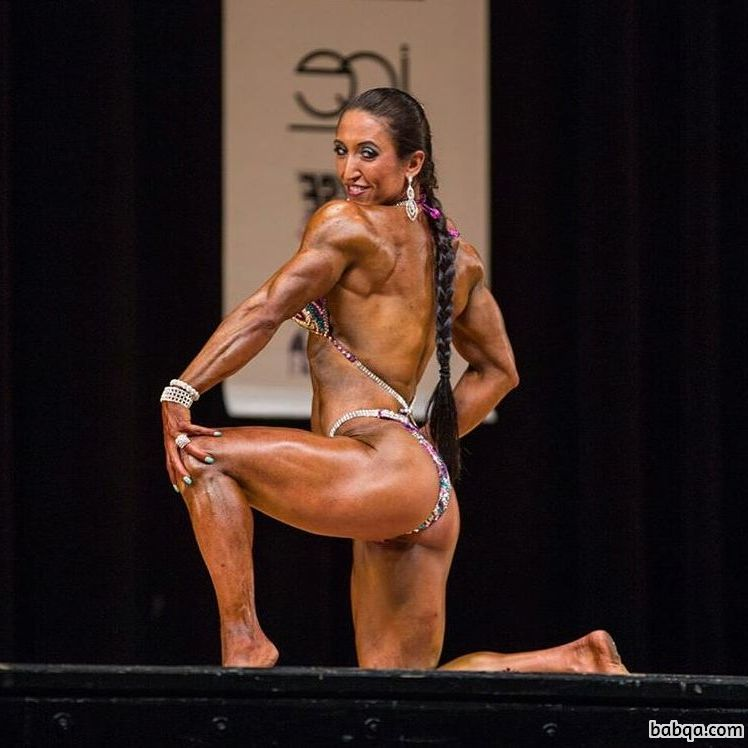 cute female bodybuilder with fitness body and muscle booty repost from tumblr
