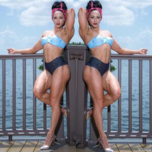sexy female bodybuilder with strong body and toned booty image from facebook