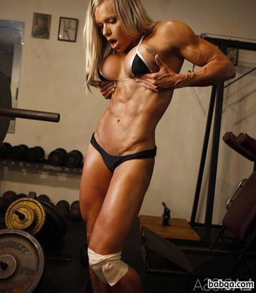beautiful lady with fitness body and muscle biceps image from flickr
