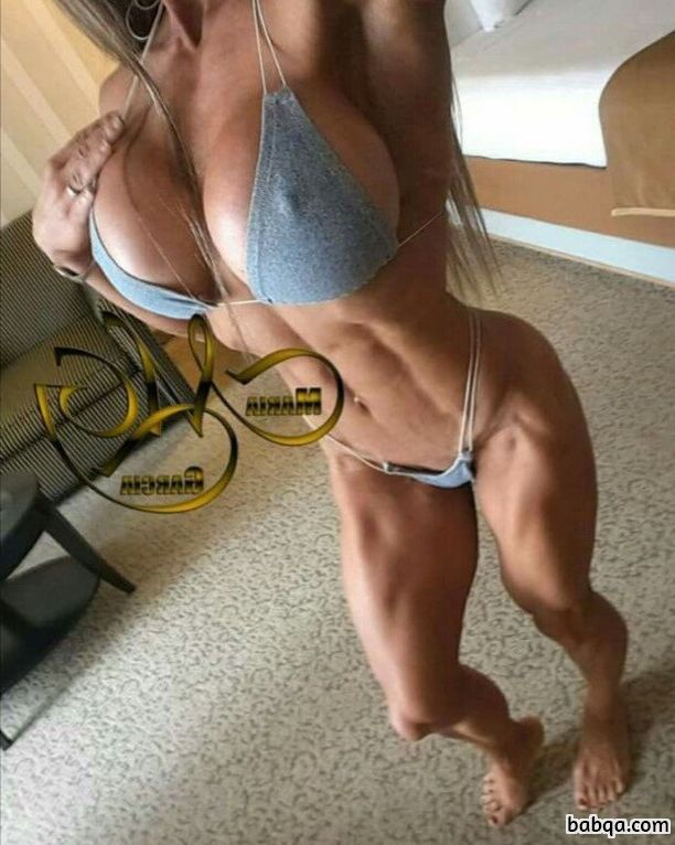 hottest female bodybuilder with muscle body and toned ass repost from insta