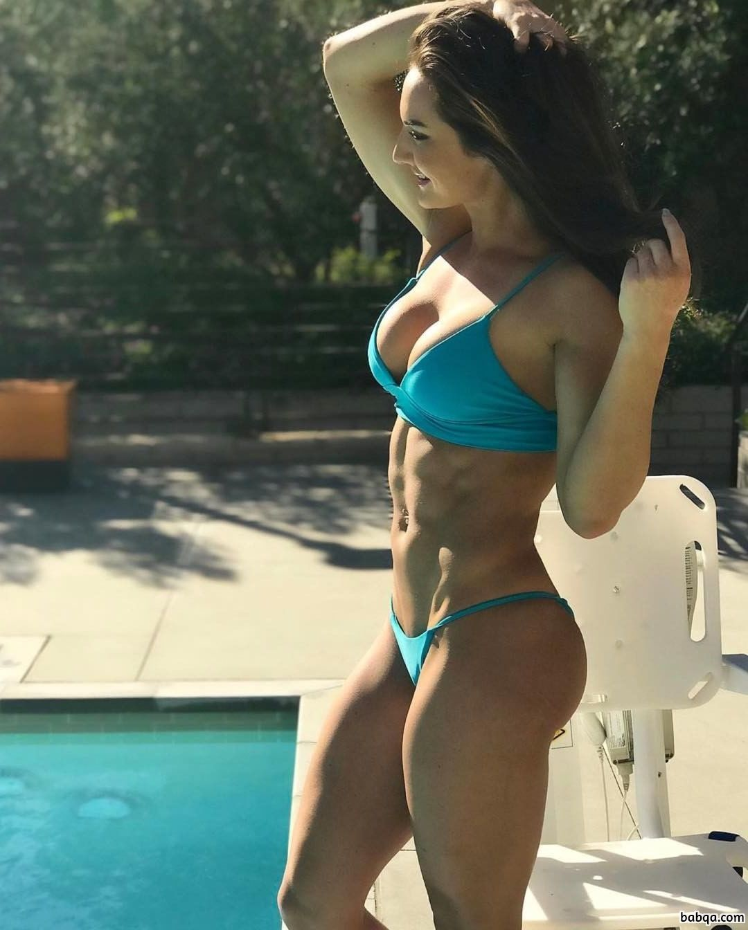 cute chick with fitness body and muscle booty photo from insta