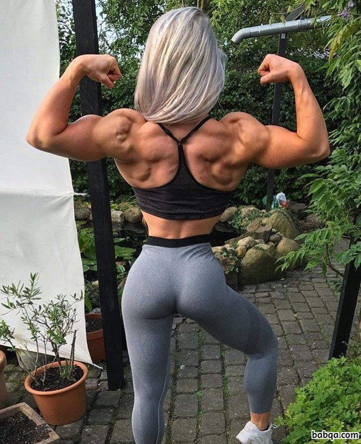 cute chick with fitness body and muscle legs picture from instagram