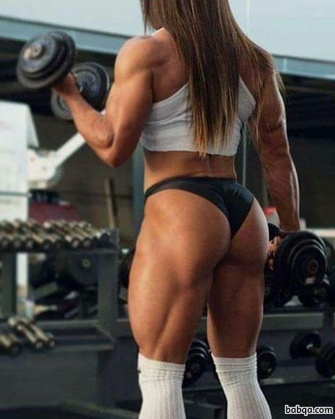 perfect female bodybuilder with fitness body and muscle ass repost from instagram